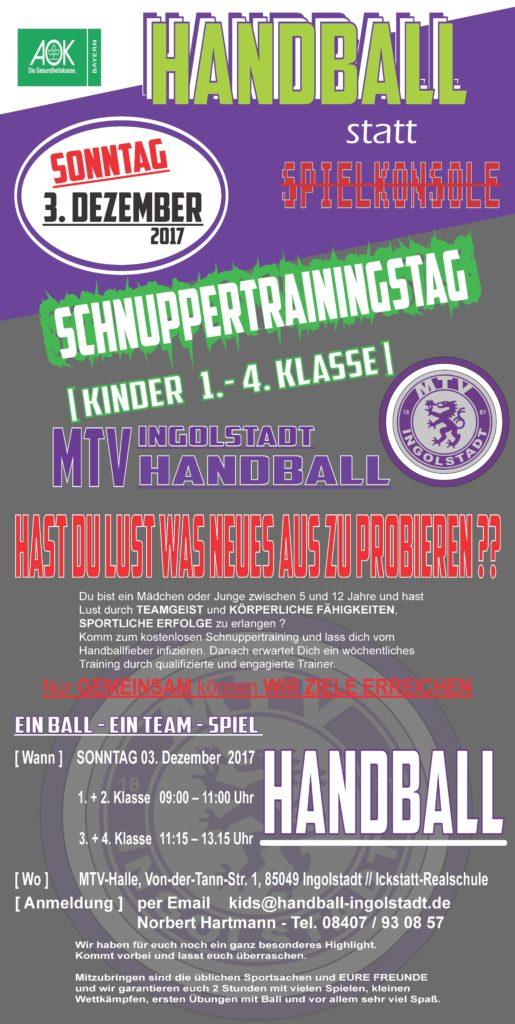 Handball Schnuppertraining 3. Dezember 2017